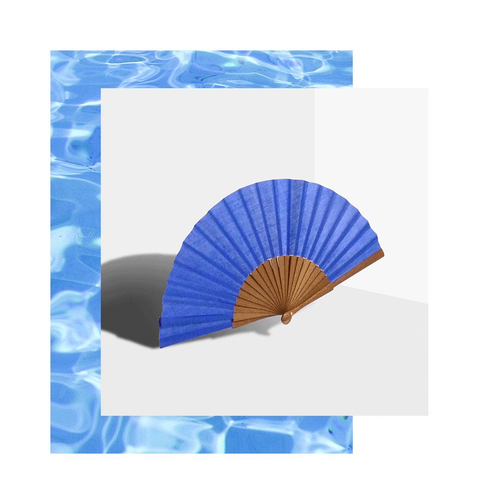 Pleat Brand hand fan in cobalt